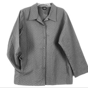 Eileen Fisher L Gray Car Coat Quilt Stitch Pockets